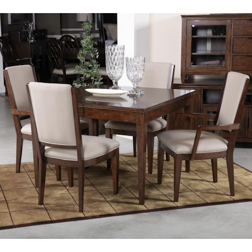 Kincaid Furniture Elise Five Piece Dining Set with Upholstered Chairs