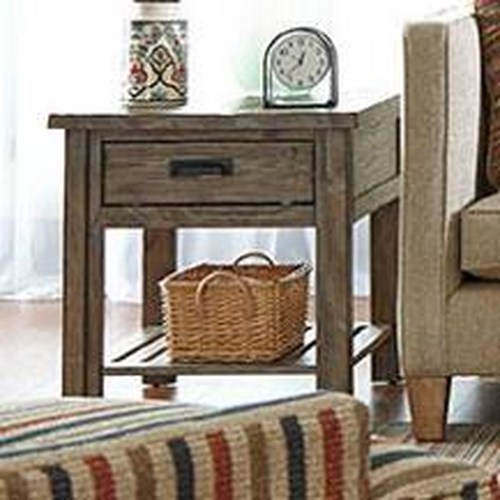 Kincaid Furniture Foundry Rustic Weathered Gray End Table with Drawer