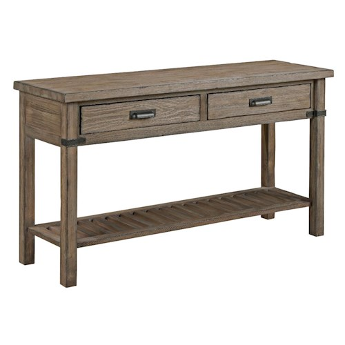 Kincaid Furniture Foundry Rustic Weathered Gray Sofa Table