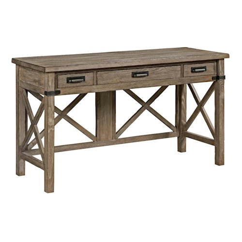 Kincaid Furniture Foundry Rustic Weathered Gray Desk with Keyboard Drawer and Electrical Outlet