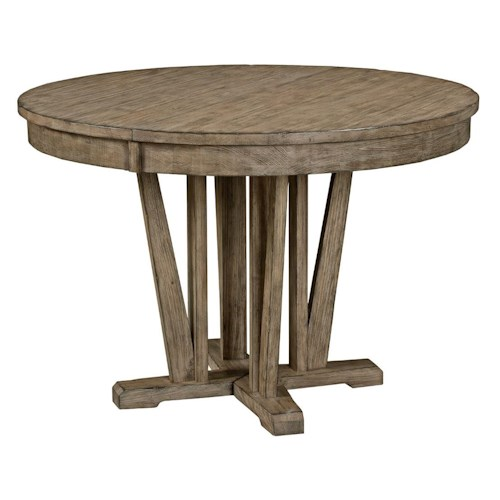 Kincaid Furniture Foundry Rustic Round Weathered Gray Dining Table with Extension Leaf