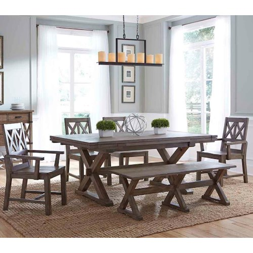 Kincaid Furniture Foundry Six Piece Rustic Dining Set with Bench