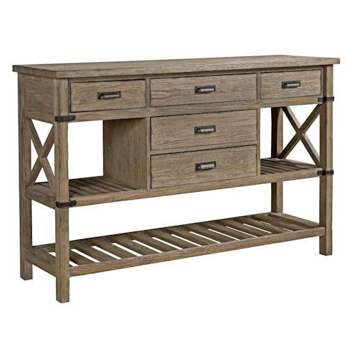 Kincaid Furniture Foundry Rustic Weathered Gray Sideboard with Silverware Storage