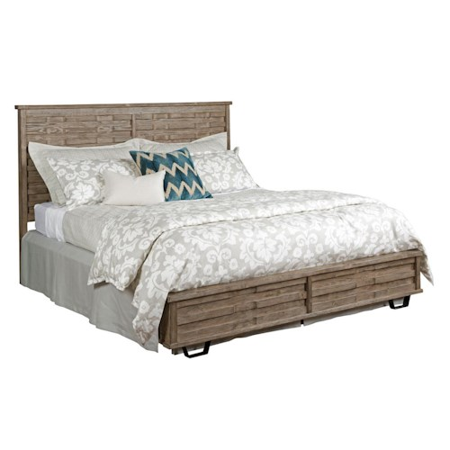 Kincaid Furniture Foundry King Solid Spruce Panel Bed with Rustic and Industrial Influences