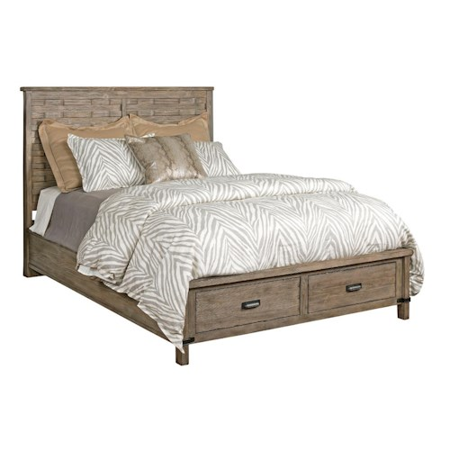 Kincaid Furniture Foundry Queen Rustic Panel Bed with Storage Footboard