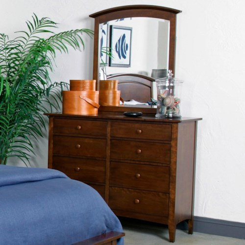 Kincaid Furniture Gatherings Albany Bureau with 7 Drawers and 1 Fold Down Drawer and Arch Mirror Set
