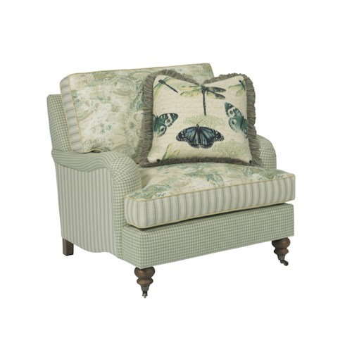 Kincaid Furniture Greenwich Traditional Chair with English Arms and Turned Legs