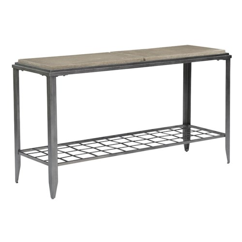 Kincaid Furniture Grid Industrial Sofa Table with Finished Concrete Top