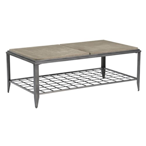 Kincaid Furniture Grid Industrial Rectangular Cocktail Table with Finished Concrete Top
