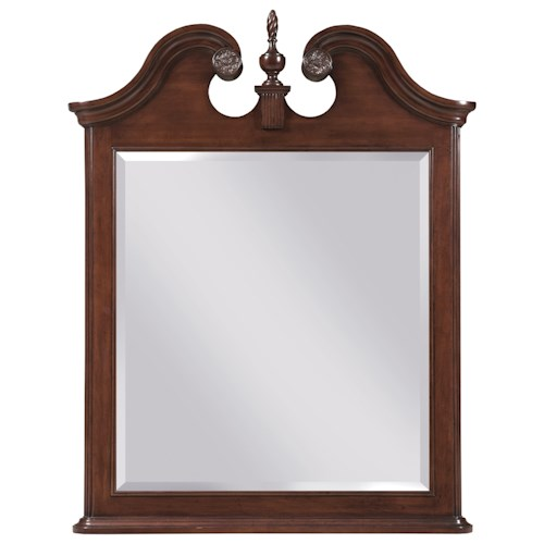 Kincaid Furniture Hadleigh Traditional Mirror with Carved Urn and Broken Pediment Detail