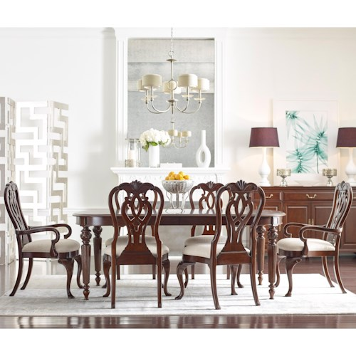 Kincaid Furniture Hadleigh Seven Piece Formal Dining Set with Queen Anne Chairs