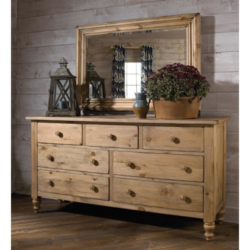Kincaid Furniture Homecoming Triple Dresser with Rectangular Wood-Framed Mirror