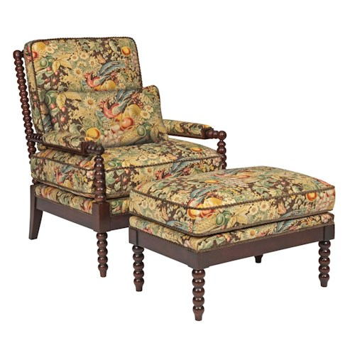 Kincaid Furniture Accent Chairs Jenny Chair and Ottoman with Spool-Turned Exposed Wood