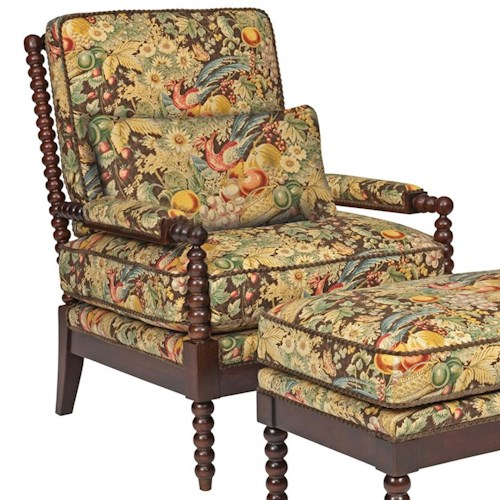 Kincaid Furniture Accent Chairs Jenny Upholstered Accent Chair with Shapely Exposed Wood Accents