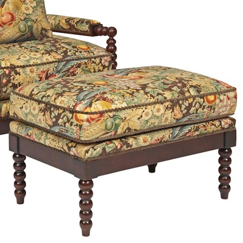 Kincaid Furniture Accent Chairs Jenny Ottoman with Spool-Turned Legs