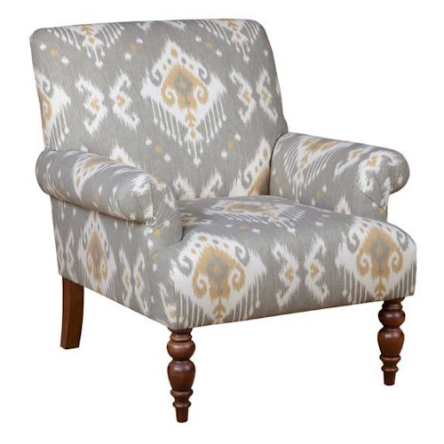 Kincaid Furniture Accent Chairs Malone Chair with Fan Pleated Arms and Turned Legs