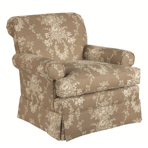 Kincaid Furniture Accent Chairs Macon Swivel Glider with Rolled Arms and Kick Pleat Skirt