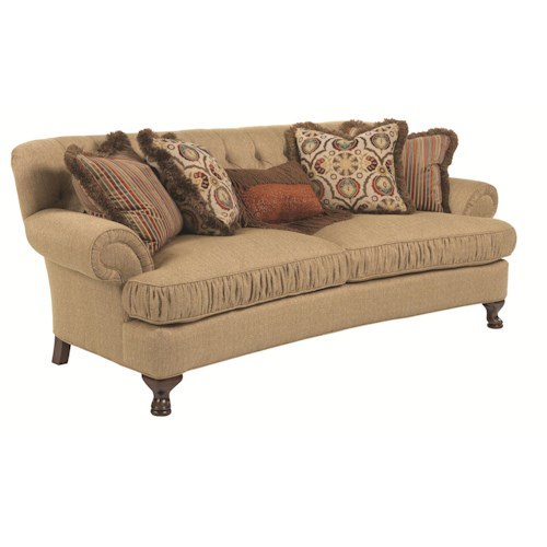 Kincaid Furniture Milan Traditional Conversation Sofa with Ruched Cushions and Cabriole Legs