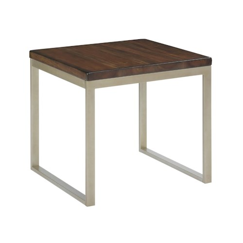 Kincaid Furniture Modern Classics Occasional Tables Linear End Table with Mahogany Top and Contemporary Metal Base
