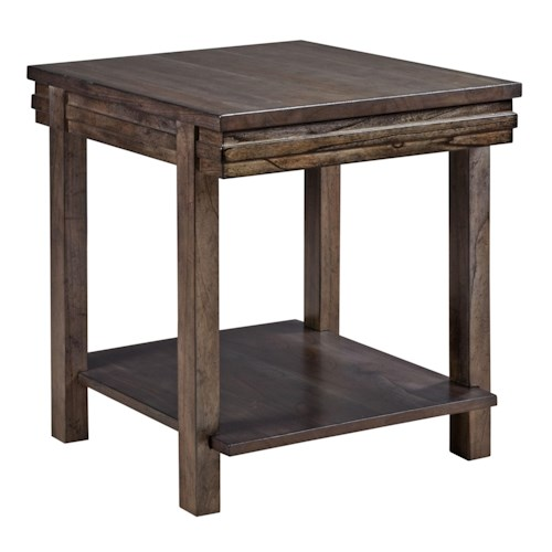 Kincaid Furniture Montreat Contemporary Cantilever End Table with Grooved Mouldings and Display Shelf