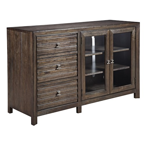 Kincaid Furniture Montreat Contemporary Solid Wood Entertainment Console with Wire Management and Electrical Outlet