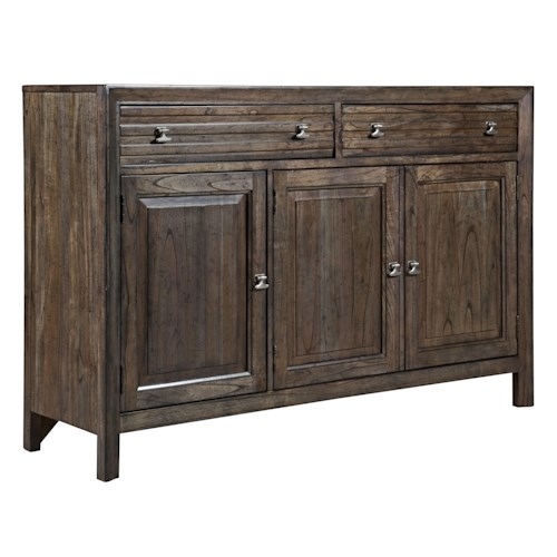 Kincaid Furniture Montreat Contemporary Black Rock Sideboard with Silverware Tray and Self-Close Drawers