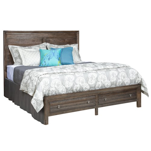Kincaid Furniture Montreat King Border's Platform Bed with Two Storage Drawers