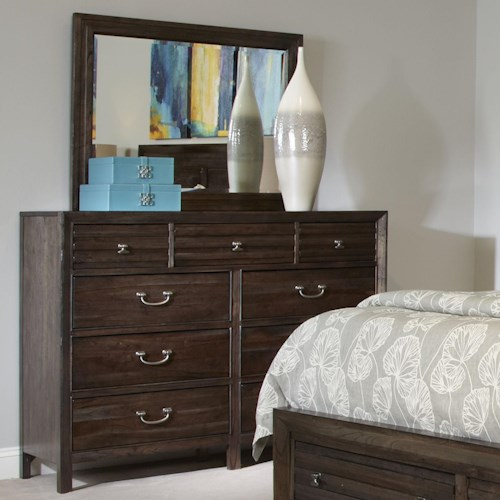 Kincaid Furniture Montreat Contemporary Black Rock Bureau and Landscape Mirror Set