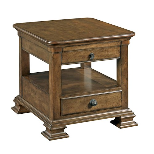 Kincaid Furniture Portolone Traditional Rectangular Solid Wood End Table with Display Shelf