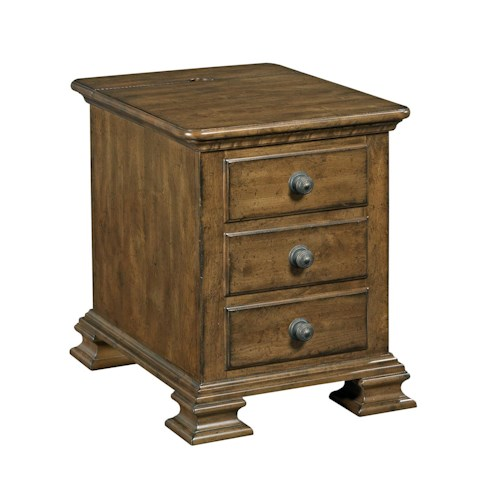 Kincaid Furniture Portolone Portolone Solid Wood Chairside Table with Flip Top and Electrical Outlet