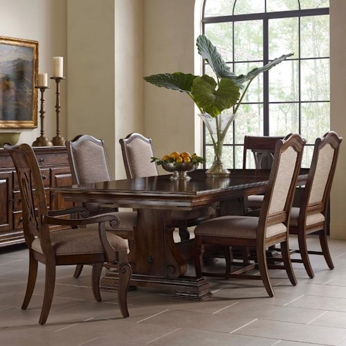 Kincaid Furniture Portolone Seven Piece Trestle Table, Upholstered Side Chair, and Harp Back Chair Set