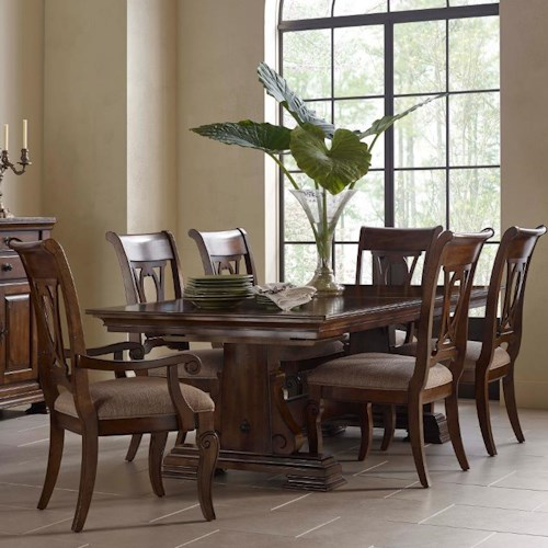 Kincaid Furniture Portolone Seven Piece Trestle Table and Harp Back Chair Set