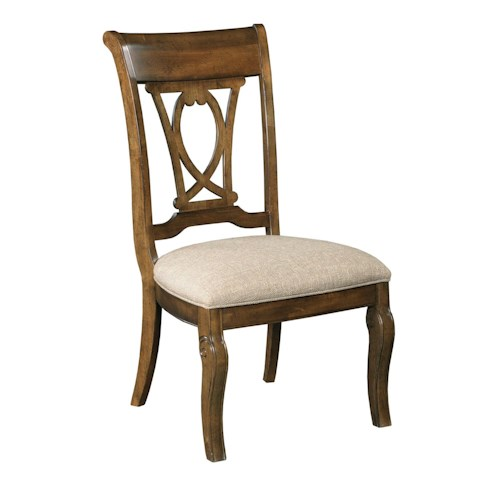 Kincaid Furniture Portolone Traditional Solid Wood Harp Back Side Chair with Upholstered Seat