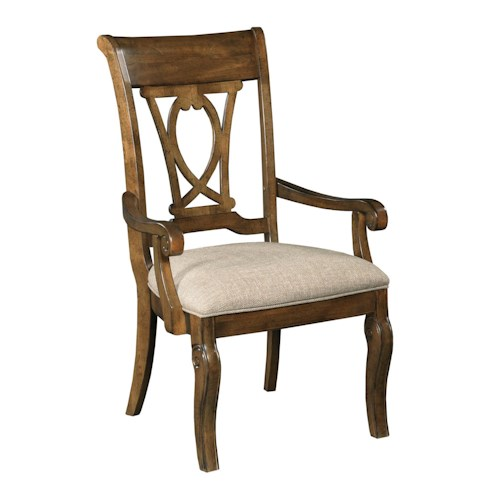 Kincaid Furniture Portolone Traditional Solid Wood Harp Back Arm Chair with Upholstered Seat