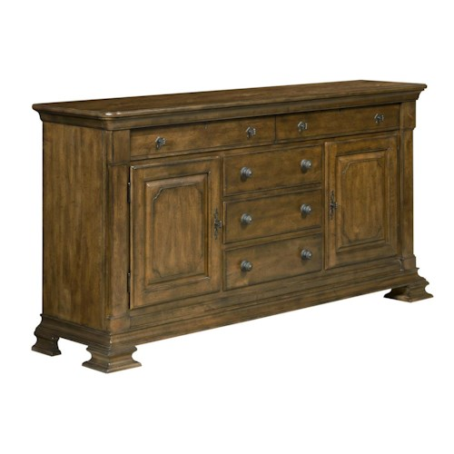 Kincaid Furniture Portolone Portolone Solid Wood Credenza with Brass Keyplate Hardware and Felt-Lined Silverware Tray