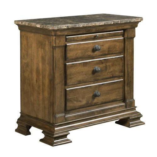 Kincaid Furniture Portolone Traditional Solid Wood Bachelor's Chest with Marble Top and Pull-Out Shelf