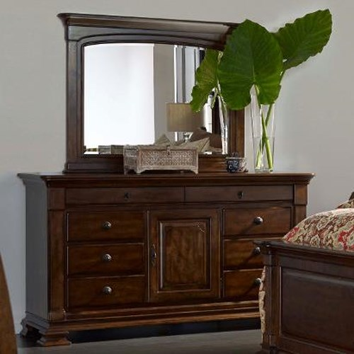 Kincaid Furniture Portolone Basilica Solid Wood Door Dresser and Landscape Mirror Set