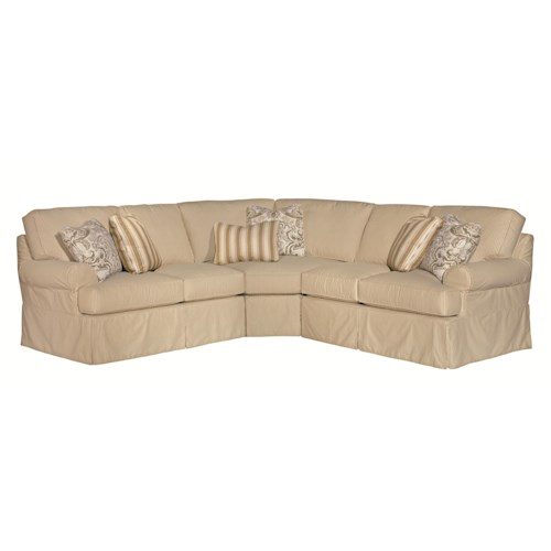 Kincaid Furniture Samantha Five Piece Slipcover Sectional Sofa with Rolled Arms