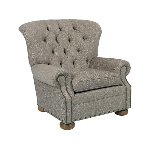 Kincaid Furniture Spencer Traditional Button-Tufted Chair with Rolled Back and Nailheads