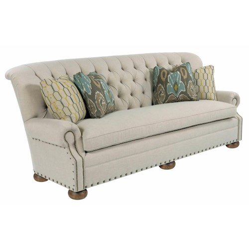 Kincaid Furniture Spencer Traditional 96 Inch Button-Tufted Sofa with Rolled Back and Nailheads