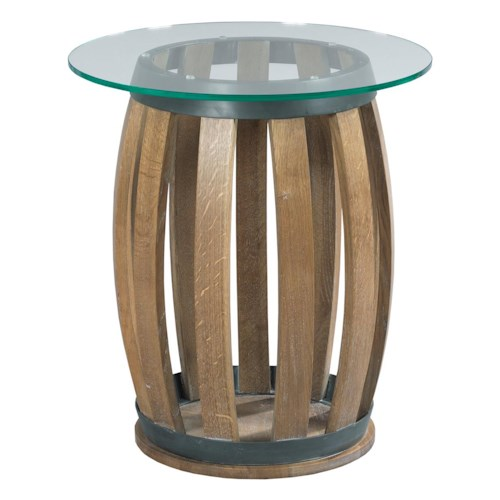 Kincaid Furniture Stone Ridge Rustic Wine Barrel Accent Table with Tempered Glass Top