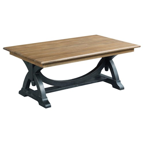 Kincaid Furniture Stone Ridge Transitional Rustic Rectangular Cocktail Table with Painted Trestle Base