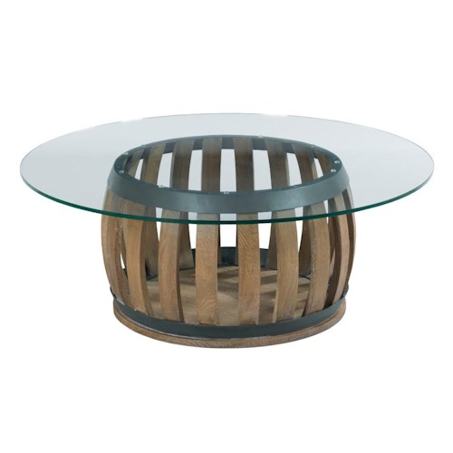 Kincaid Furniture Stone Ridge Rustic Wine Barrel Cocktail Table with Tempered Glass Top
