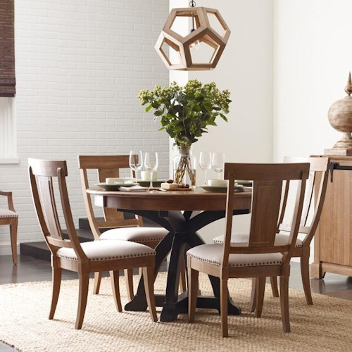 Kincaid Furniture Stone Ridge Five Piece Dining Set with Round Table and One Table Extension Leaf
