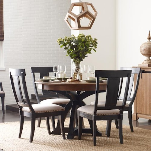 Kincaid Furniture Stone Ridge Five Piece Dining Set with Black Painted Chairs