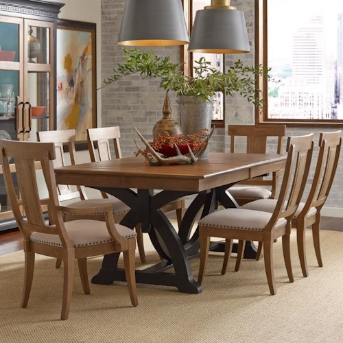 Kincaid Furniture Stone Ridge Seven Piece Dining Set with Extendable Rectangular Table