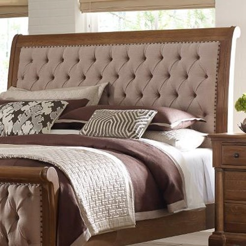 Kincaid Furniture Stone Ridge King Size Upholstered Sleigh Headboard with Button Tufting and Nailhead Trim