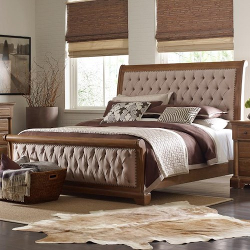 Kincaid Furniture Stone Ridge King Size Upholstered Sleigh Bed with Performance Fabric and Button Tufting