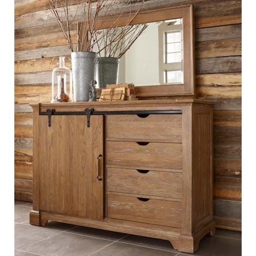 Kincaid Furniture Stone Ridge Transitional Rustic Sliding Barn Door Media Chest and Landscape Mirror Set