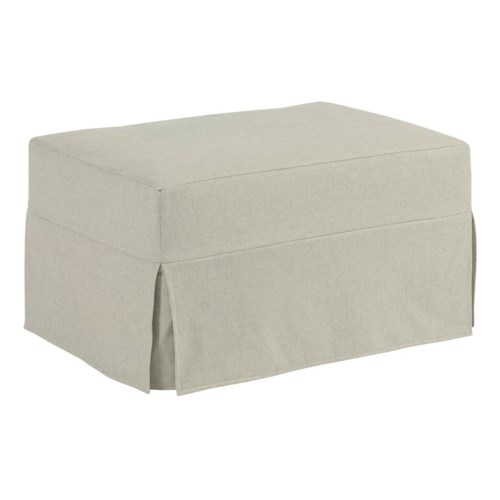 Kincaid Furniture Sydney Modern Slipcover Ottoman with Kick Pleat Skirt